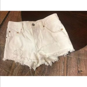 "Levi's 26"" White Distress Cutoff Shorts Button Fly"